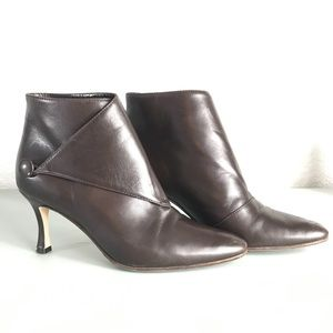 Manolo Blahnik Button Ankle Brown Booties 5.5